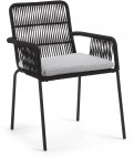 Tuinstoel - Samanta - Black - Fabric-Metal - Kave Home