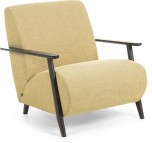 Fauteuil - Meghan - Mosterdgeel/Bruin - Stof - Kave Home