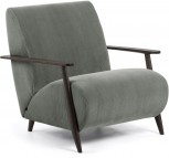 Fauteuil - Meghan - Donkergrijs/Bruin - Corduroy stof - Kave Home