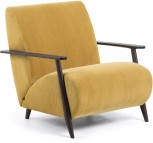 Fauteuil - Meghan - Mosterdgeel/Bruin - Corduroy stof - Kave Home