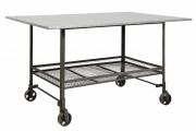 INDUSTRIAL table w/wheels, iron